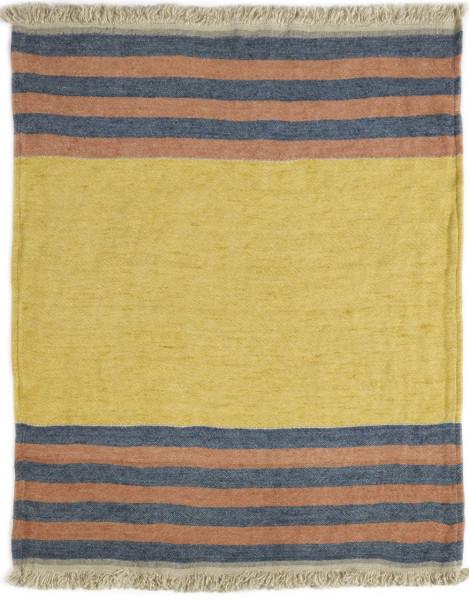 Libeco Leinenplaid Red Earth Stripe gelb-blau-rost