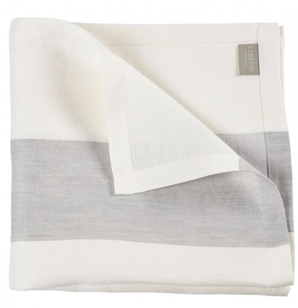 Libeco Serviette Long Island weiß/grau 54x54 cm