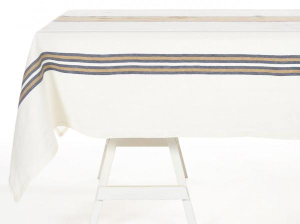 Libeco Tischdecke Norfolk Banks weiß/beige/blau