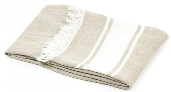 Libeco Leinenplaid Flax Stripe flachs-weiß