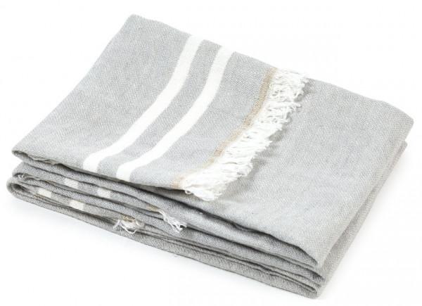 Libeco Badetuch Gray Stripe hellgrau-weiß