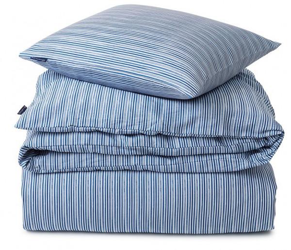 Lexington Bettwäsche-Set Satin Striped Organic blau/weiß
