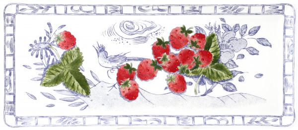 Gien Oiseau Bleu Fruits Königskuchenplatte