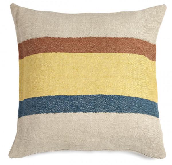 Libeco Kissenbezug Mercurio Stripe beige-gelb-blau-braun