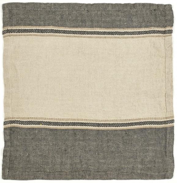 Libeco Serviette Thompson Camel Stripe beige/schwarz