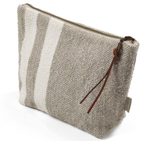 Libeco Tasche klein Charlotte grau-weiß multi stripe
