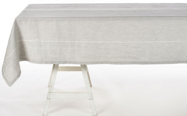 Libeco Tischdecke Atelier Stripe grau/weiß