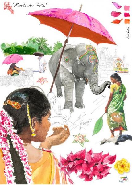 Gien Geschirrtuch Route des Indes