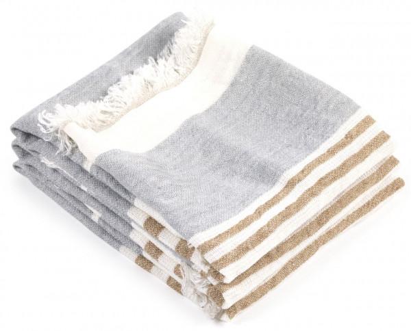 Libeco Leinenplaid Ash Stripe stone-weiß-beige