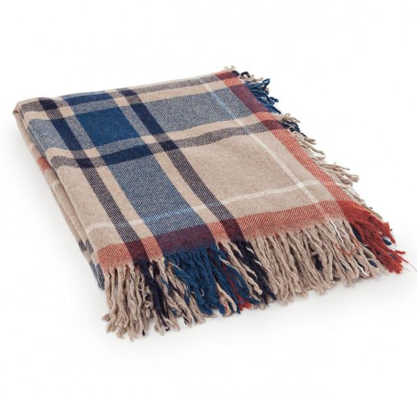 Lexington Decke Wool checked beige/blau/rost