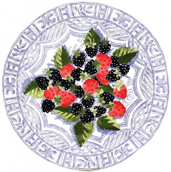 Gien Oiseau Bleu Fruits Kuchenplatte