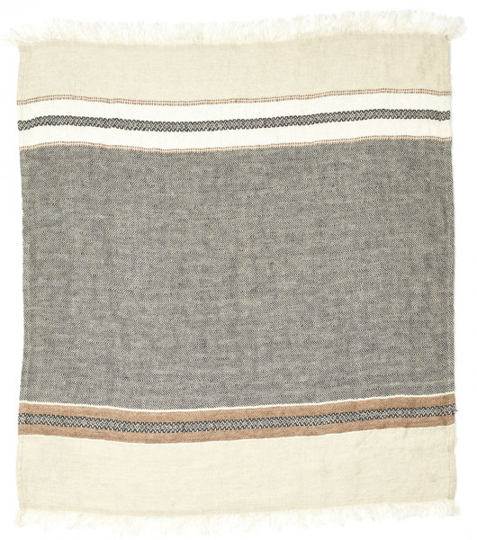 Libeco Leinenplaid Beeswax Stripe grau-weiß
