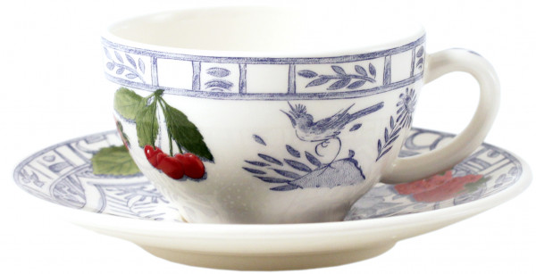 Gien Oiseau Bleu Fruits Kaffee/Teetasse