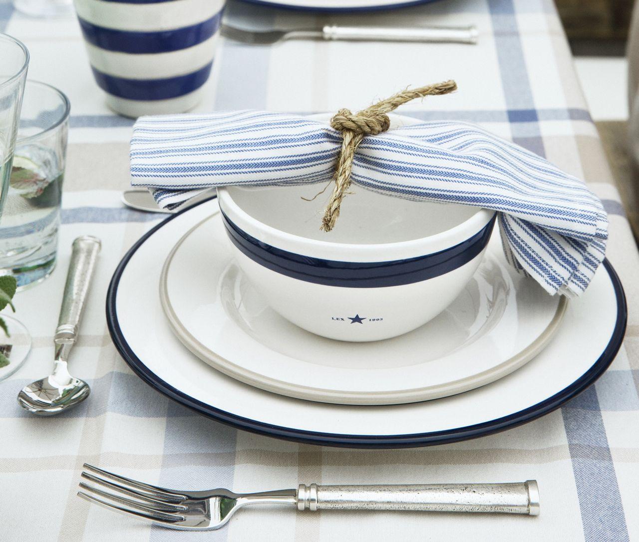 Lexington Essteller Details Weiss Blau 4er Set Details Geschirr Essen Leben Mit Stil