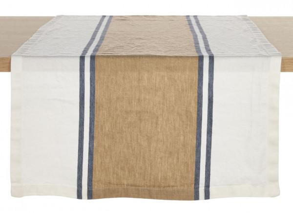 Libeco Tischläufer Norfolk Banks weiß/beige/blau 54x150 cm