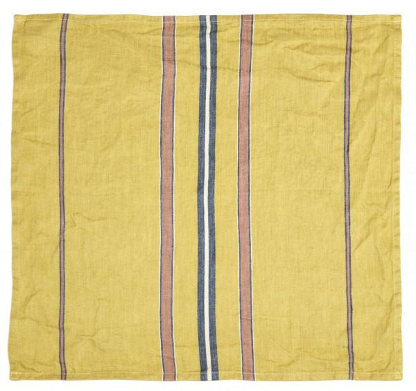 Libeco Serviette Patio Stripe gelb/blau/rostbraun